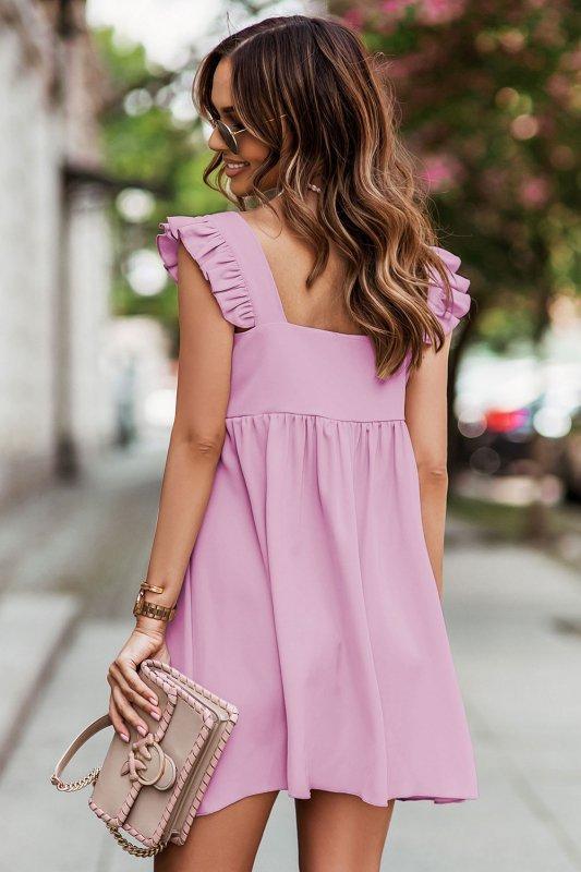 NOEL sukienka mini o lekko oversizowym kroju - róż_2