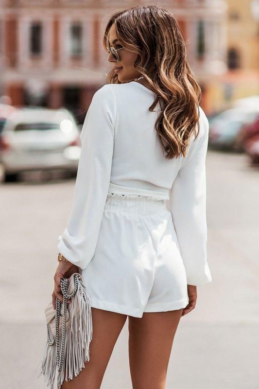 Komplet Rivi -  wiązana bluzka z krótkimi spodenkami - cream _3