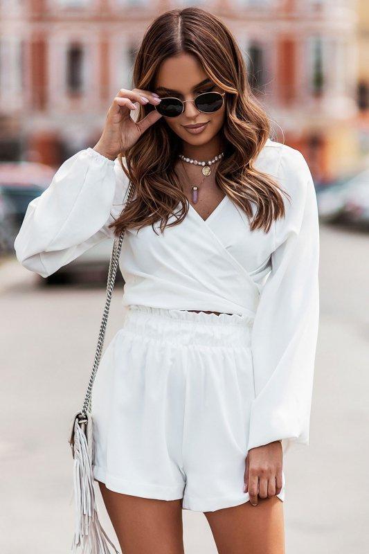 Komplet Rivi -  wiązana bluzka z krótkimi spodenkami - cream_4