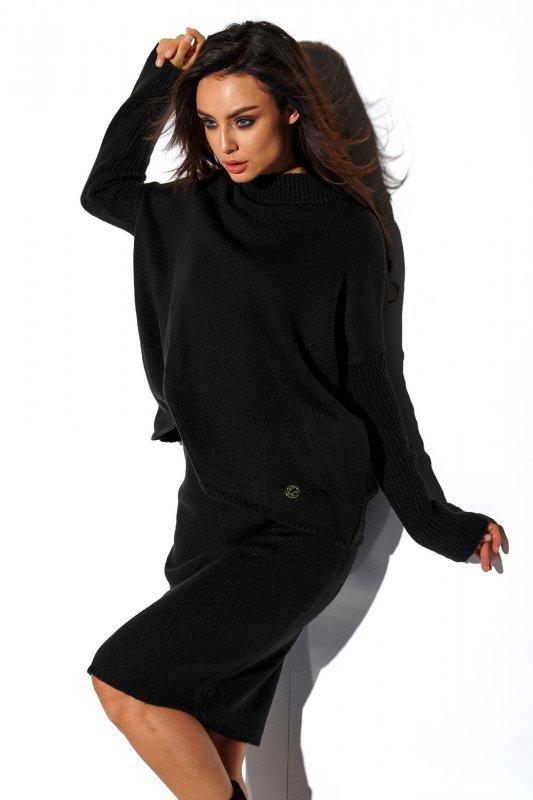 Komplet sweter półgolf i spódnica - StreetStyle LS260 - czarna-1