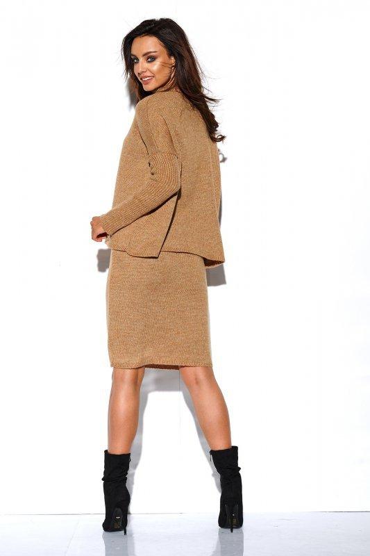 Komplet sweter półgolf i spódnica - StreetStyle LS260 - kamel-3
