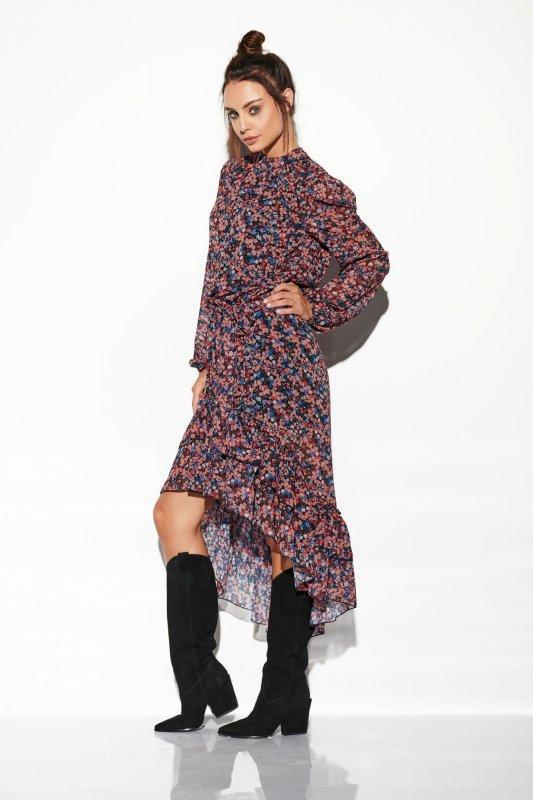 Sukienka z jedwabiem i krótszym przodem -StreetStyle LG504 - druk 10