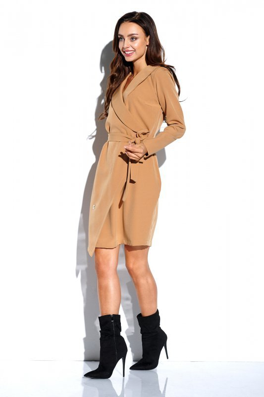 Kopertowa sukienka wiązana w pasie z długim rękawem -StreetStyle L315