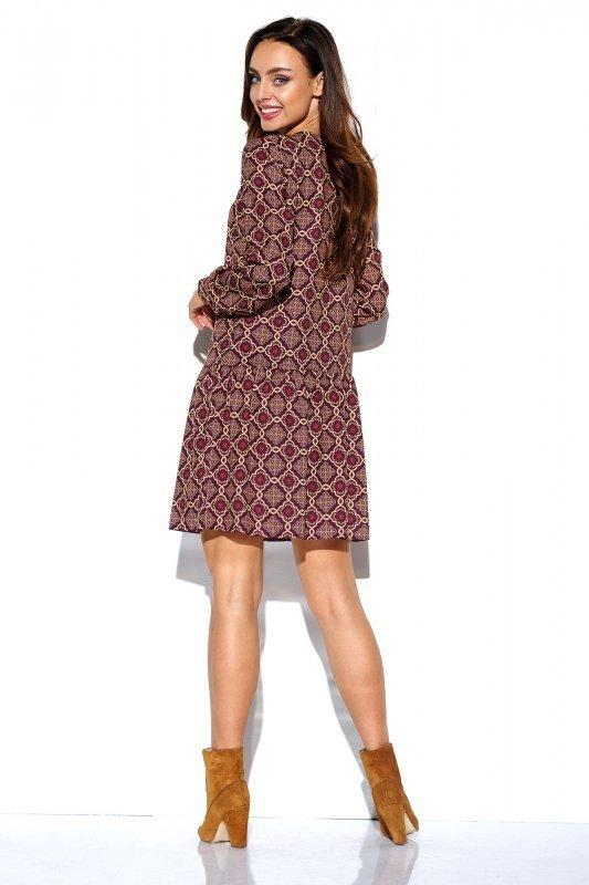 Koszulowa sukienka z falbaną i guziczkami - druk 7