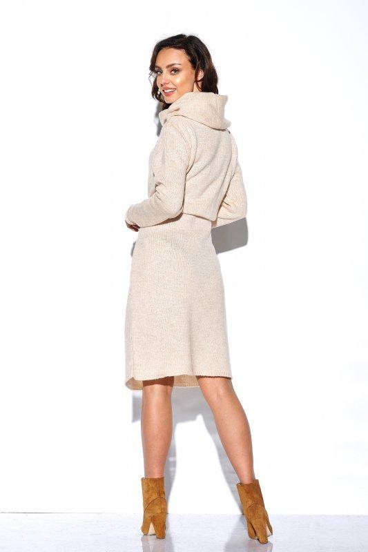 Sweterkowa sukienka z golfem i kieszeniami - StreetStyle LS257- beżowy-4