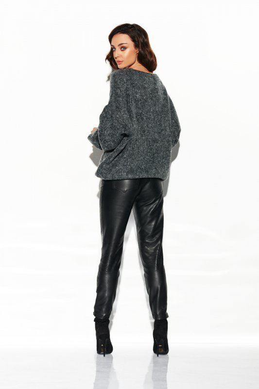 Sweter z dużym dekoltem - StreetStyle LSG111- grafit- 3