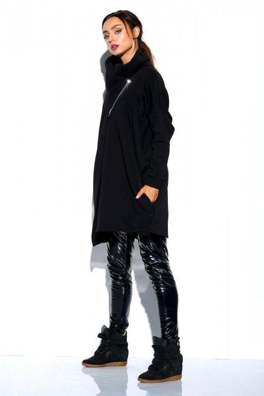Bluza o oversizowym kroju z zamkiem - StreetStyle LN100 - czarna - 4
