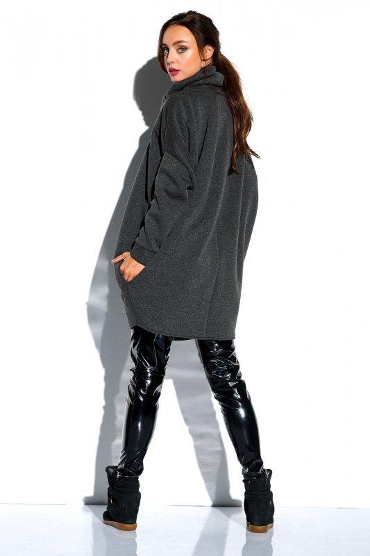 Bluza o oversizowym kroju z zamkiem - StreetStyle LN100 - grafit - 3