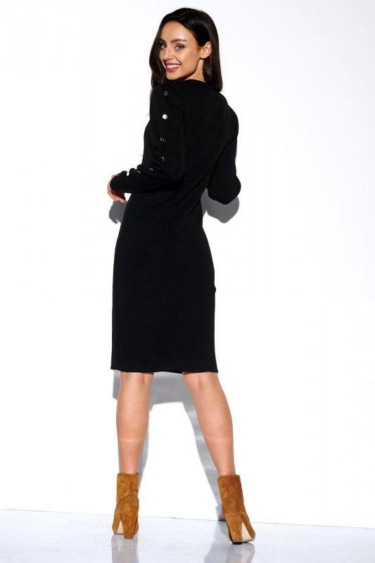 Sukienka swetrowa z guzikami na rękawach - StreetStyle LS270- czarna - 2