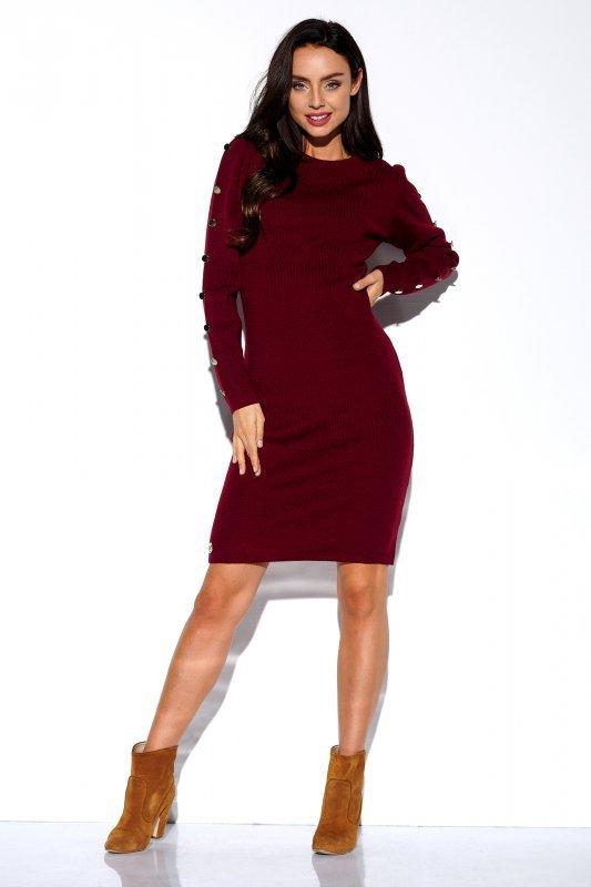 Sukienka swetrowa z guzikami na rękawach - StreetStyle LS270- bordo - 1