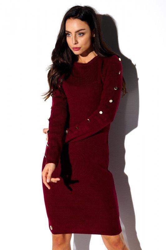 Sukienka swetrowa z guzikami na rękawach - StreetStyle LS270- bordo - 4