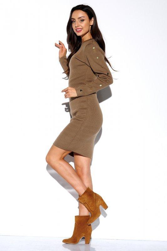 Sukienka swetrowa z guzikami na rękawach - StreetStyle LS270- capucino - 1