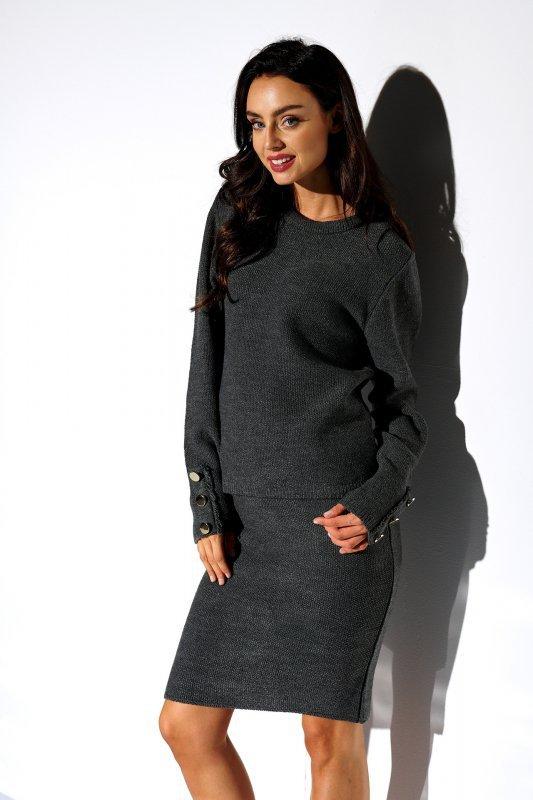 Elegancki komplet sweter i spódnica - StreetStyle LSG118 - grafit  - 1