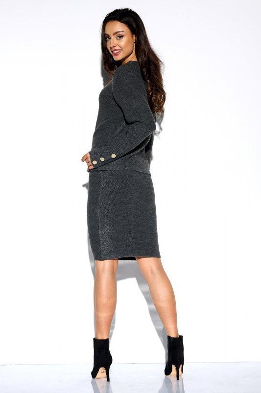 Elegancki komplet sweter i spódnica - StreetStyle LSG118 - grafit  - 2