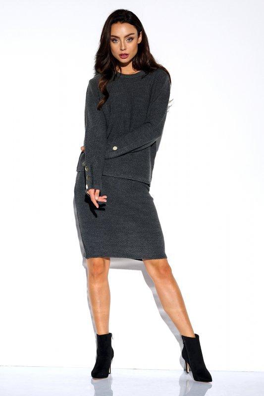 Elegancki komplet sweter i spódnica - StreetStyle LSG118 - grafit  - 3