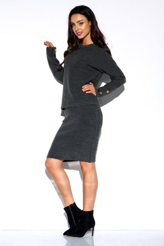 Elegancki komplet sweter i spódnica - StreetStyle LSG118 - grafit  - 4