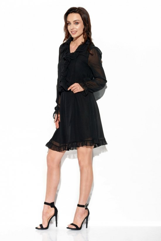 Szyfonowa sukienka z jedwabiem i żabotem Zuza - StreetStyle - L327