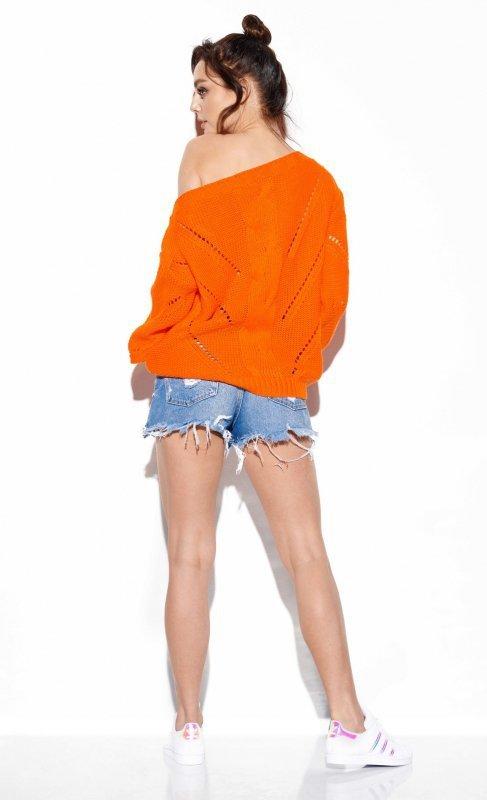 Ażurowy sweter z warkoczem - SteetStyle LS287- pomarańcz-3