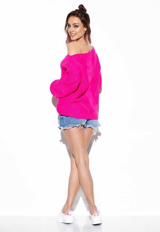 Ażurowy sweter z warkoczem - SteetStyle LS287- ostry róż-3