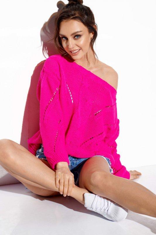 Ażurowy sweter z warkoczem - SteetStyle LS287- ostry róż-4