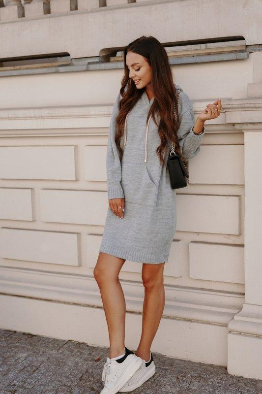 Swetrowa sukienka sportowa z kieszenią -  LSG132 - jasnoszary-4