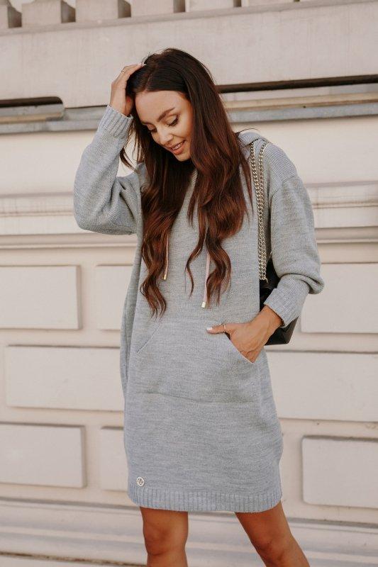Swetrowa sukienka sportowa z kieszenią -  LSG132 - jasnoszary-5