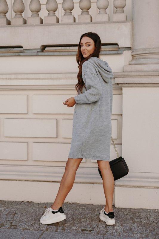 Swetrowa sukienka sportowa z kieszenią -  LSG132 - jasnoszary-8
