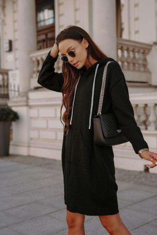 Swetrowa sukienka sportowa z kieszenią -  LSG132 - czarny-6