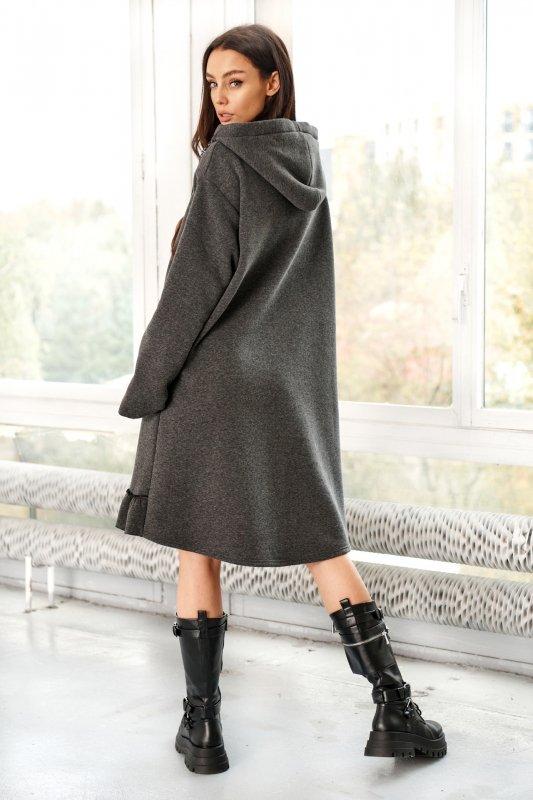 Bawełniana sukienka/bluza z falbaną LN119 - Grafit - 10