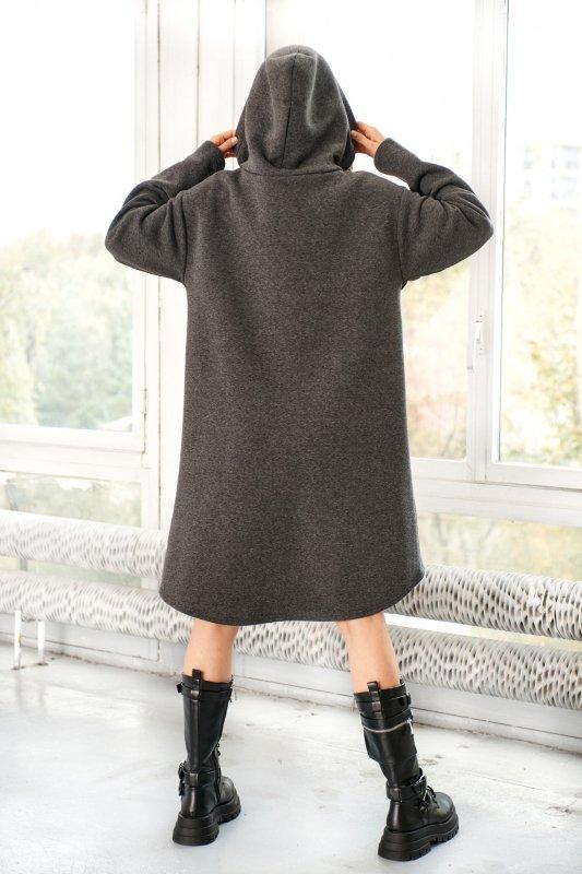 Bawełniana sukienka/bluza z falbaną LN119 - Grafit - 11