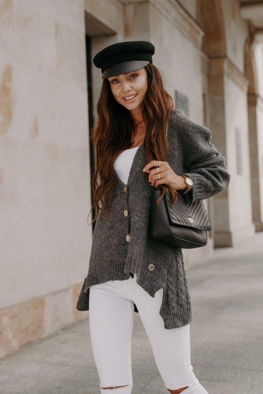 Sweter z guzikami i dłuższym tyłem - LS307-grafit -7