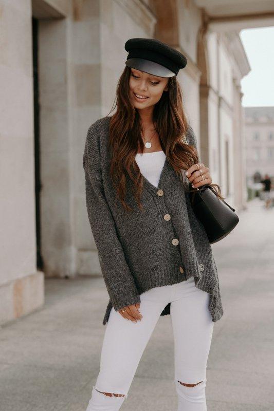Sweter z guzikami i dłuższym tyłem - LS307-grafit -8