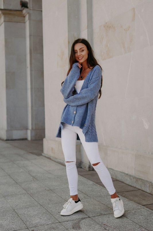 Sweter z guzikami i dłuższym tyłem - LS307-jeans -3