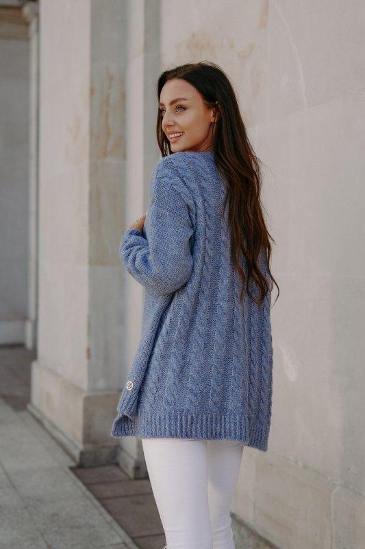 Sweter z guzikami i dłuższym tyłem - LS307-jeans -7