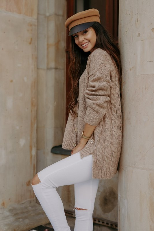 Sweter z guzikami i dłuższym tyłem - LS307-capucino -4