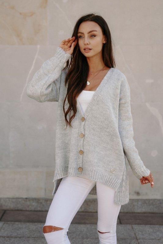 Sweter z guzikami i dłuższym tyłem - LS307- jasnoszary -1