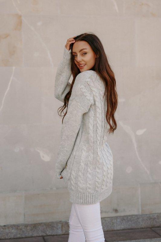 Sweter z guzikami i dłuższym tyłem - LS307- jasnoszary -5