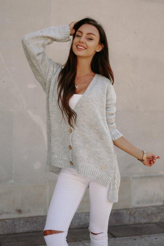 Sweter z guzikami i dłuższym tyłem - LS307- jasnoszary -8
