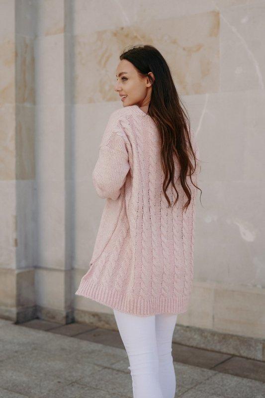 Sweter z guzikami i dłuższym tyłem - LS307- pudrowy róż -6