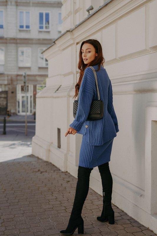 Komplet swetrowy – spódnica i sweter z golfem - jeans - 4