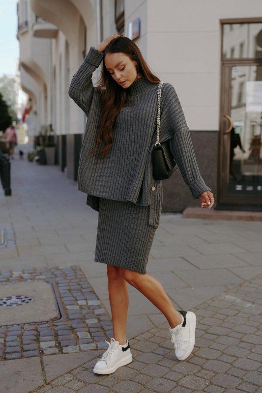 Komplet swetrowy – spódnica i sweter z golfem - grafit - 6
