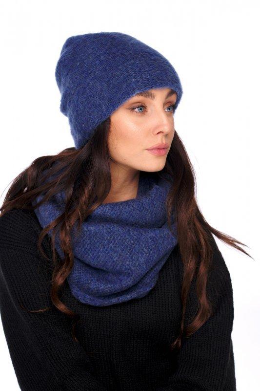 Basicowy komplet czapka z perełką i komin LC141 - jeans - 1
