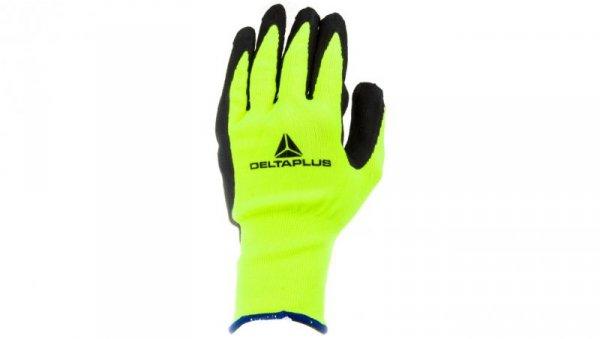 Rękawice dziane z poliestru fluorescencyjnego strona chwytna z pianki lateksowej czarno- żółte rozmiar 10 APOLLON VV73310