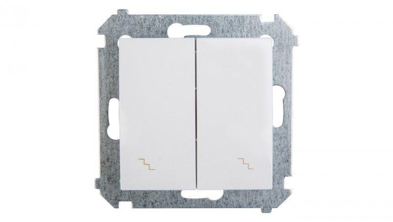 Simon 54 Łącznik schodowy podwójny z podświetleniem biały IP20 DW6/2L.01/11