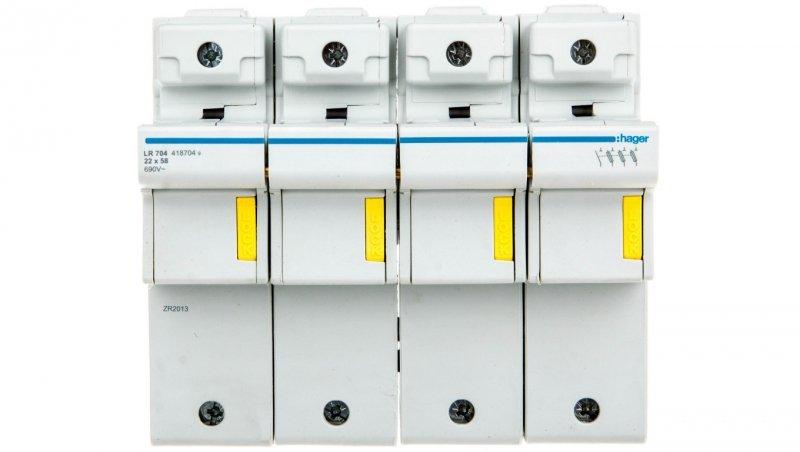 HAGER Rozłącznik bezpiecznikowy cylindryczny 4P 22x58mm LR704