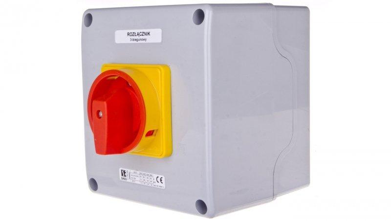 Łącznik krzywkowy 0-1 63A 3P w obudowie żółto-czerwony SK63-2.8211OB16ZC