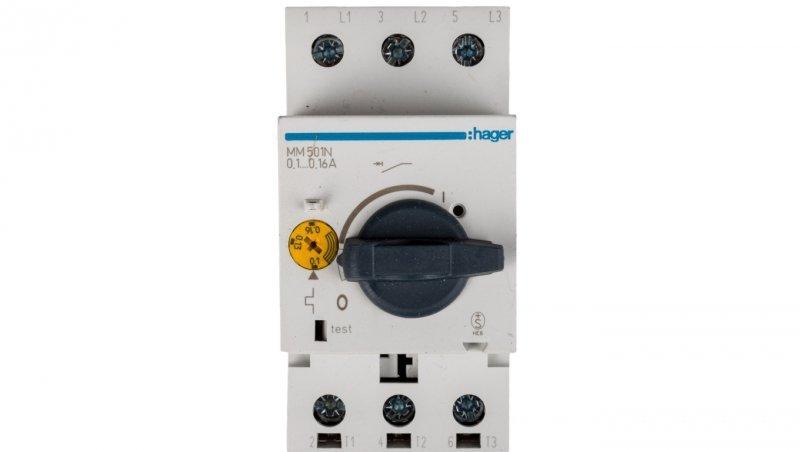 HAGER Wyłącznik silnikowy 3P 0,03kW 0,1-0,16A MM501N