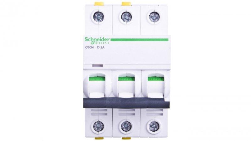 Wyłącznik nadprądowy 3P D 2A 6kA AC iC60N-D2-3 A9F05302