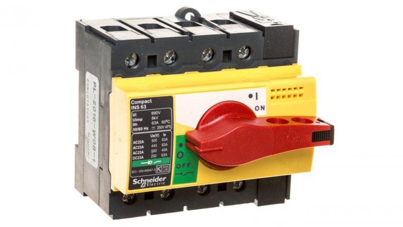 Rozłącznik izolacyjny 3P 63A dzwignia żółto-czerwona INS63 28919