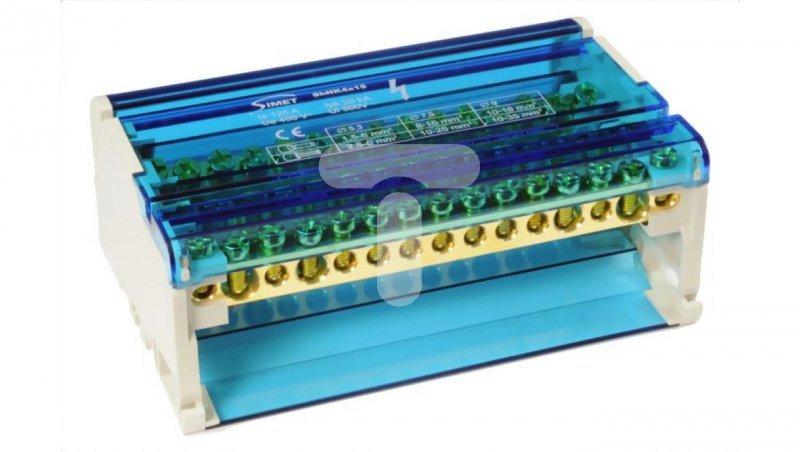Modułowy blok rozdzielczy czterobiegunowy 4x11x6mm2 2x25mm2 2x35mm2 TS35 ShNK4x15 85138002